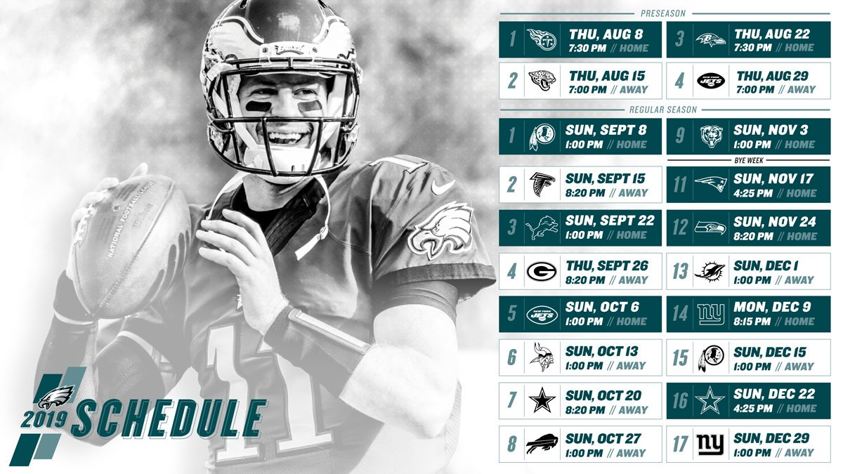 Nobody:  Us:  Here's our 2019 schedule!  #FlyEaglesFly <br>http://pic.twitter.com/CPJp9laTOJ
