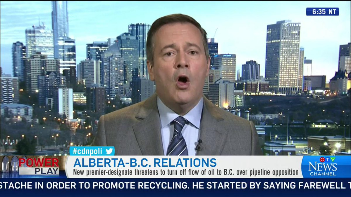 "Alberta premier-designate @jkenney says the threat to turn off Alberta's oil taps in B.C. is not an empty one. When asked if he's really willing to do it, he said ""that's the whole point.""  #ctvpp #cdnpoli  More at http://CTVNews.ca"