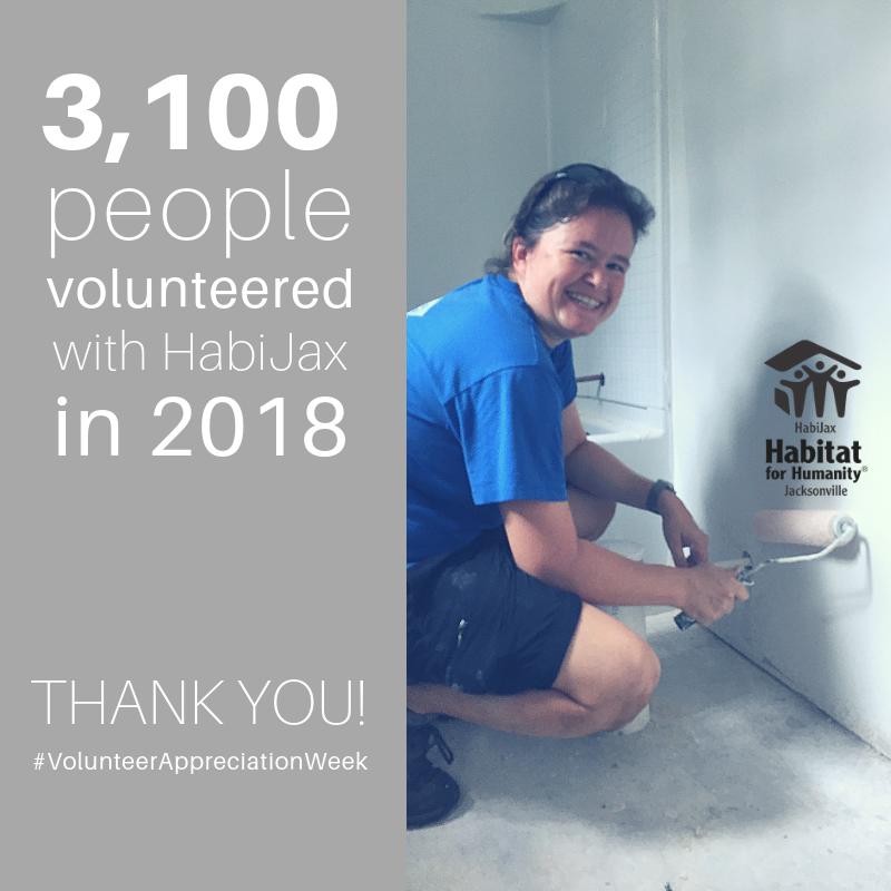 3,100 people volunteered with #HabiJax last year! We thank you all so much for your support! #VolunteerAppreciationWeek #ThankYou #VolunteerLove