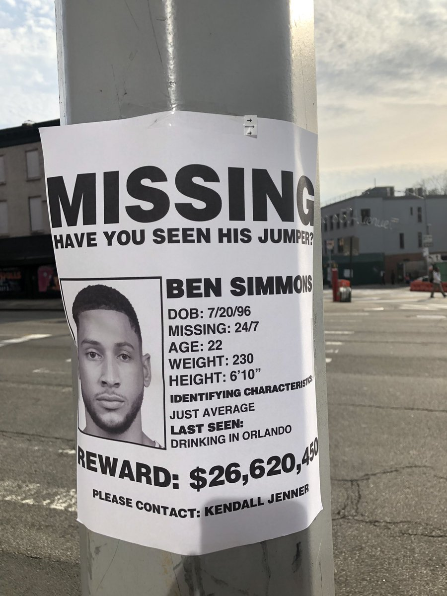 "📸 ""Missing: Ben Simmons jump shot"" hanging outside of Barclays Center prior to Game 3."