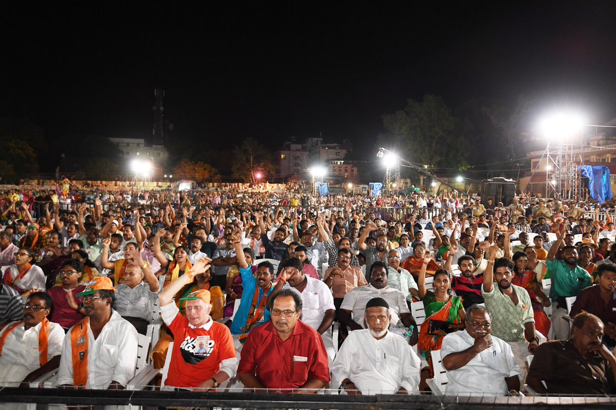 Happy to have campaigned in Thiruvananthapuram last evening. BJP's support base in this city has been rising over the last many years. UDF and LDF's corruption, communalism and failure to protect Kerala's culture is drawing people to BJP. Kerala politics is seeing a big shift.