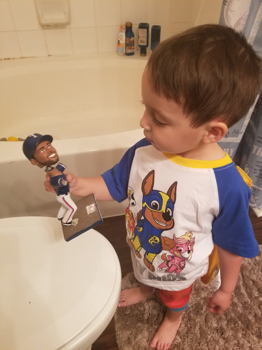 It is one of my greatest accomplishments as a father that one of the limited number of words my son can say perfectly so far is bobblehead.   This poor Elvis bobblehead has seen better days.