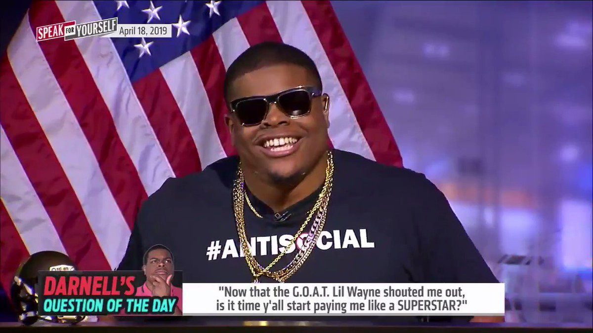 "⁉️Darnell's Question of The Day: Now that the G.O.A.T. @LilTunechi shouted me out, is it time y'all start paying me like a superstar? 🤔@Darnell_Smith95  ""We can upgrade your shirts to Egyptian cotton... How about an 'Empire' dvd set?"" —@MarcellusWiley"