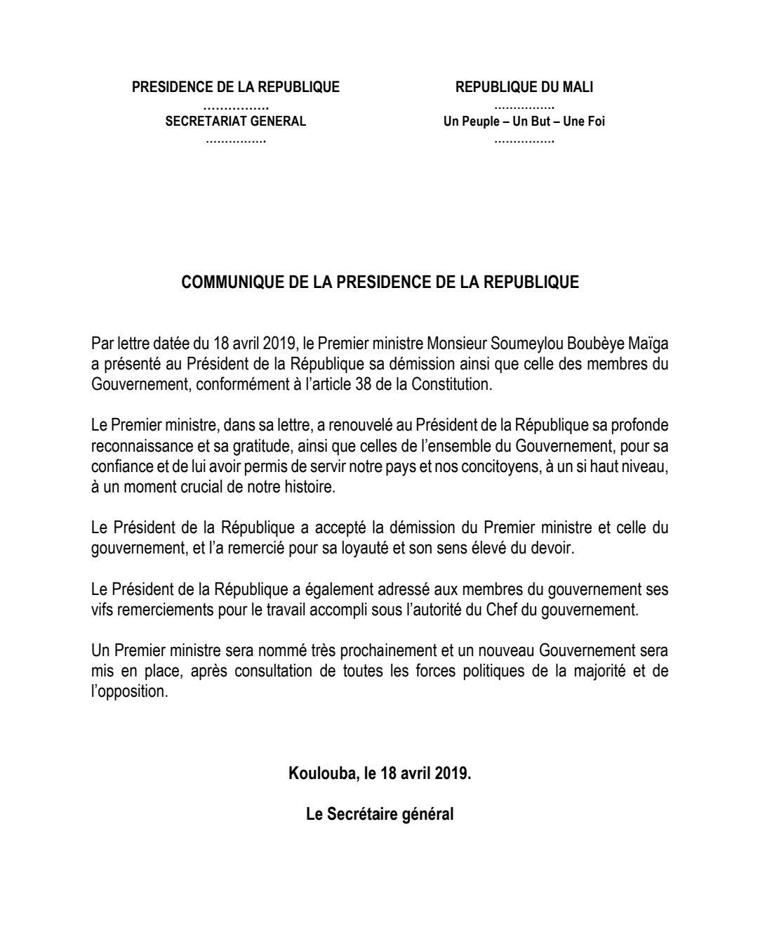 Presidence Mali On Twitter Par Lettre Datée Du 18 Avril