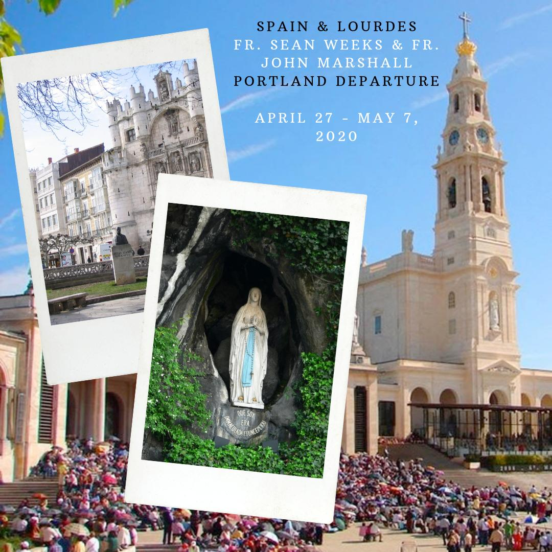 Fr. John Marshall of Our Lady of the Lake, Lake Oswego and Fr. Sean Weeks of St. Pius X, Portland will be directing a pilgrimage to Spain and Lourdes from April 27 - May 7, 2020. <br>http://pic.twitter.com/ajimYSlVXW
