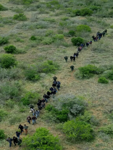 An #AMO EC-120 crew assisted #USBP agents in Laredo when a large group of suspected illegal aliens were reported near Hebbronville, TX. The helicopter crew spotted the group hiding under vegetation. #USBP apprehended 45 individuals from Central America.