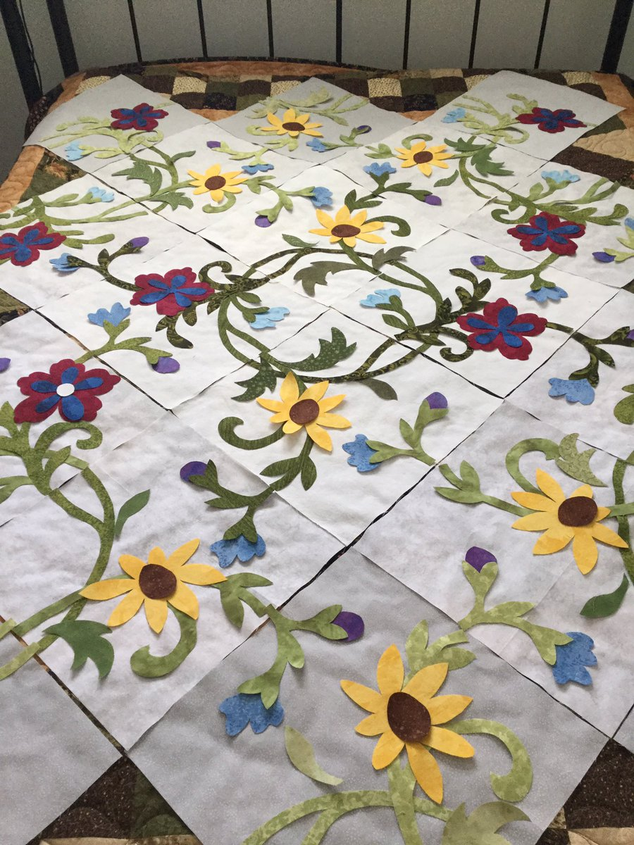 This will probably be Marlene's last quilt this winter. It is for her sister in law and will be under construction for months. <br>http://pic.twitter.com/naqSNJHxAE