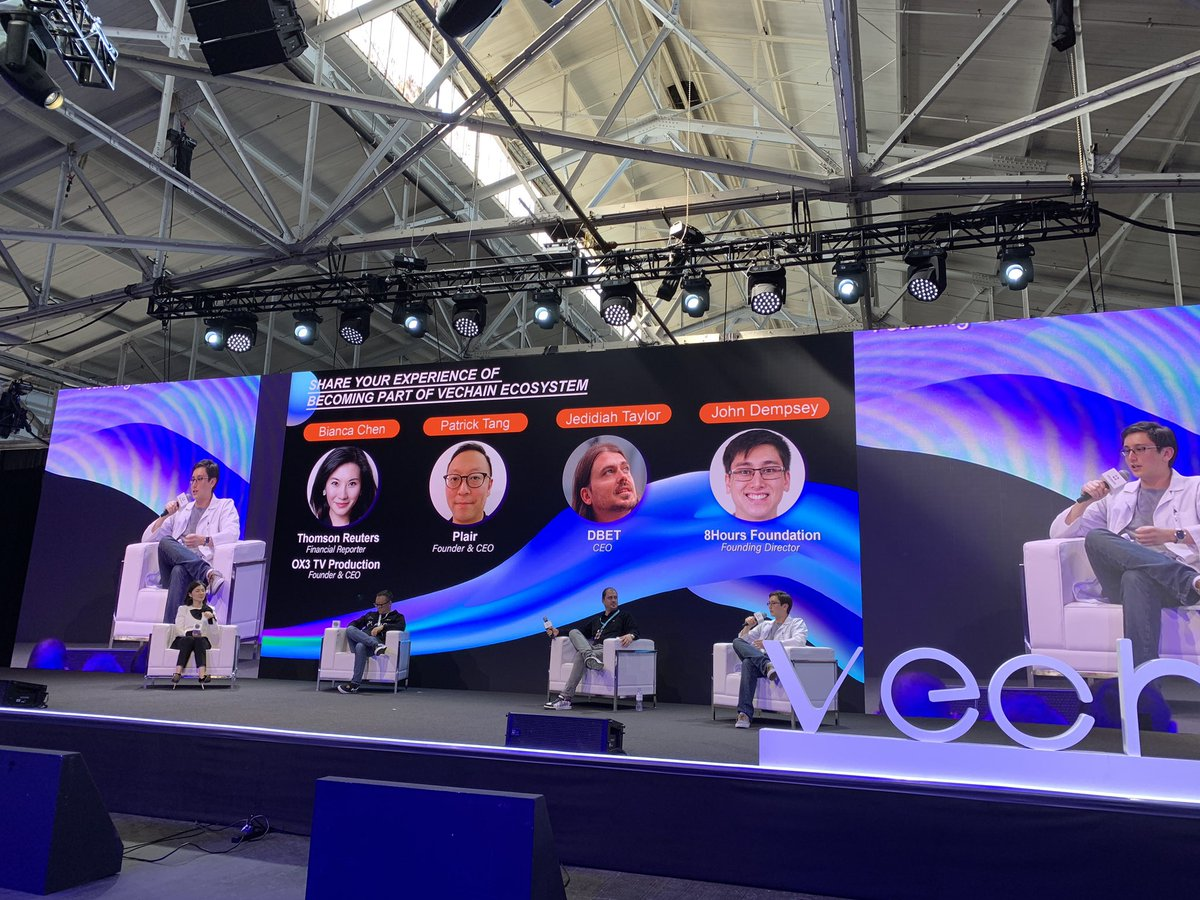 Panel with @BiancaYijiaChen @plair_life @Decent_Bet @8Hours_Official at #VeChainSummit2019 - hearing that enterprise and governance focus along with the #VeFam @vechainofficial and @CREAMethod makes ideation &gt; launch &gt; growth happen #CreatingValuableTxs #VET $VET #massadoption <br>http://pic.twitter.com/irTIR4iSfw
