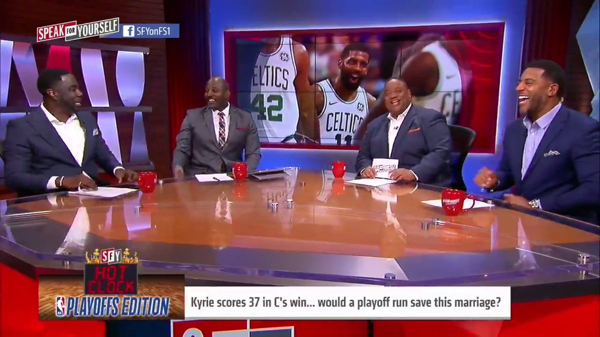 """Kyrie already left a championship squad in Cleveland with LeBron on the roster. The divorce rate tells us all we need to know. Half of marriages fail.""  @MarcellusWiley doesn't believe a playoff run would save Kyrie's marriage with the Celtics"