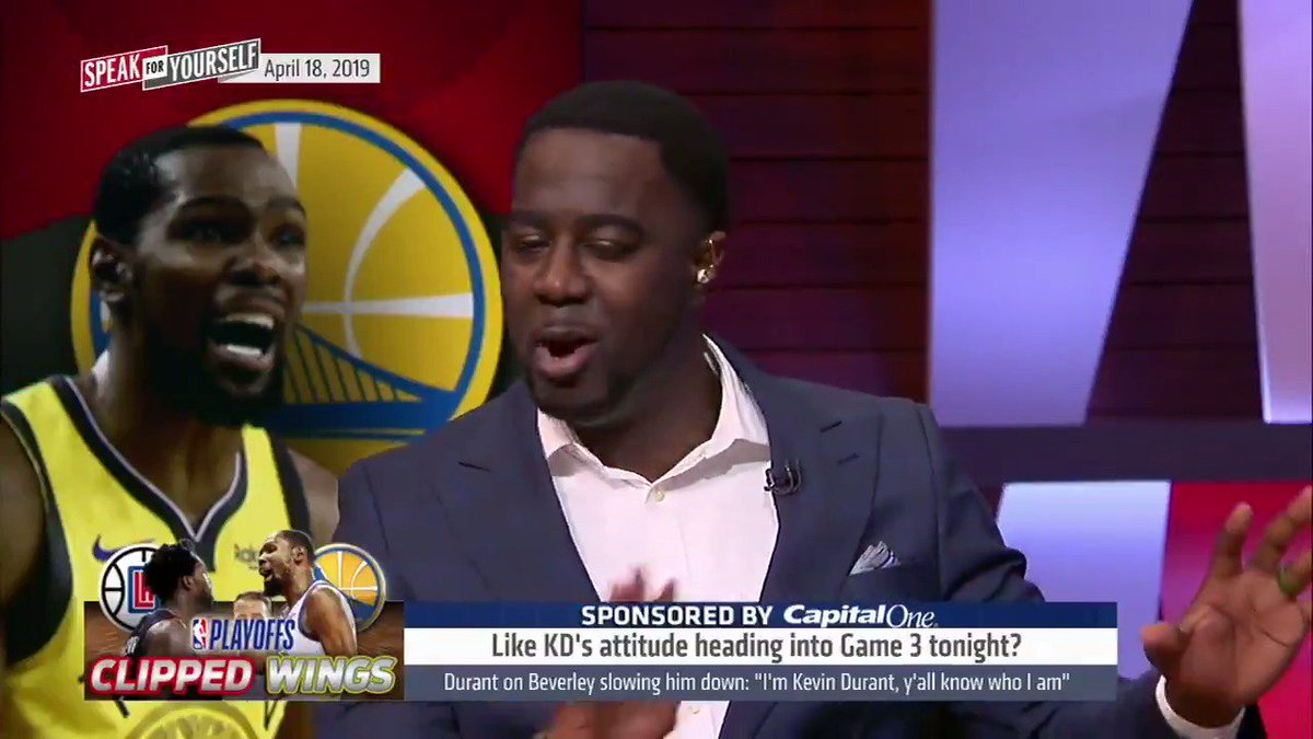"""""""KD needs to be aggressive, impose his will, take matters in his own hands and take care of Patrick Beverley once and for all.""""   @ChrisBHaynes believes Kevin Durant needs to take over in Game 3 tonight"""