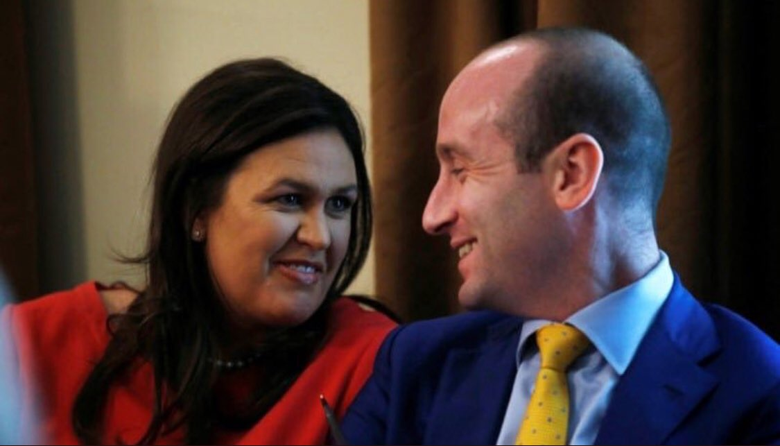 Stephen Miller is now wondering, &quot;Was Sarah lying when she told me that I don&#39;t look like a discarded Spongebob character who frightened children, and that I should be the next James Bond, and that if she wasn&#39;t married she&#39;d carry me around like a backpack?&quot;  #SarahSanders<br>http://pic.twitter.com/n1xy3wmzwx