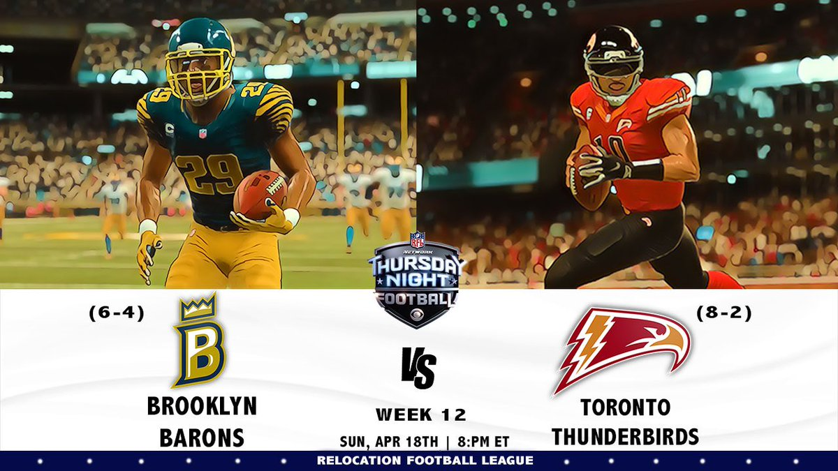 Who Ready For Some RFL Thursday Night Football! #Barons vs #Thunderbirds Week 12! Who Ya Got? #RFL #Madden19 #Madden<br>http://pic.twitter.com/WGhVLRPGeZ