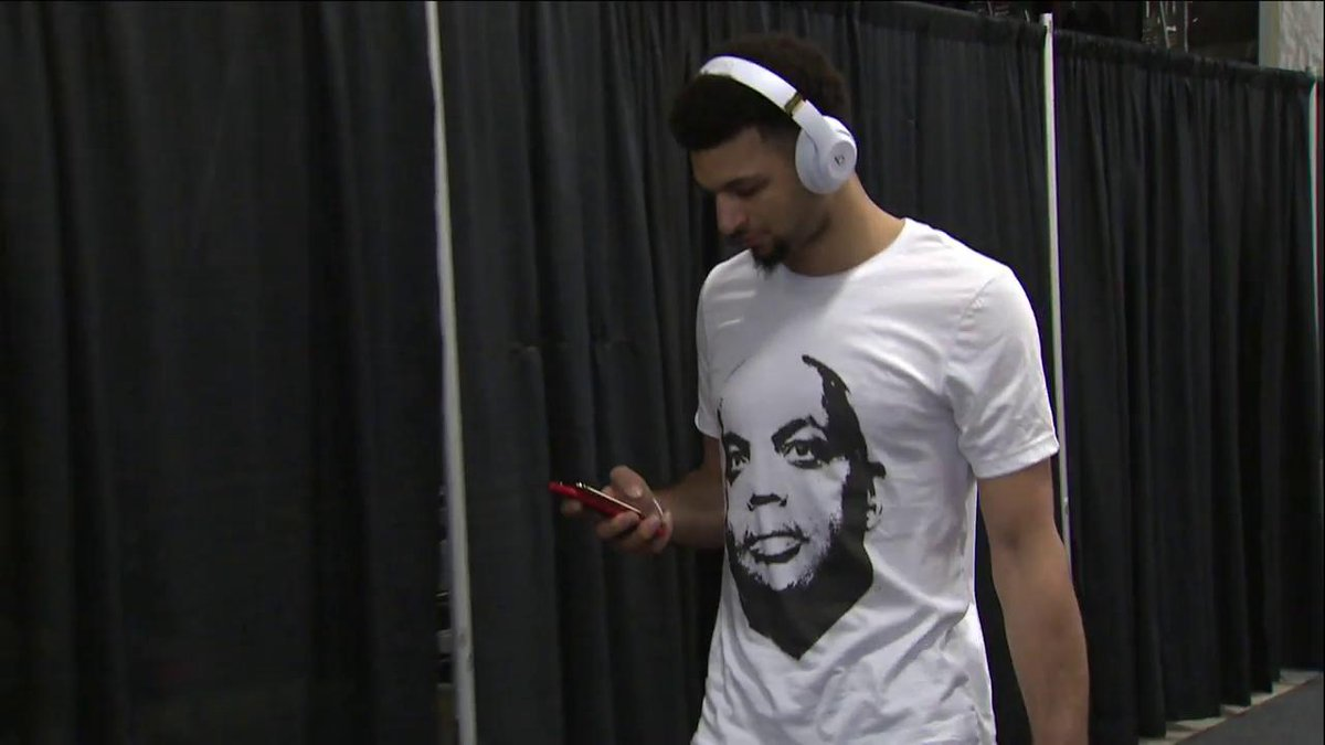 """I GUARANTEE the @nuggets are going to win tonight!!!"" 😂  -Chuck likes Jamal Murray's fit before Game 3. #NBAPlayoffs"