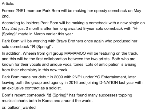 #Translation: Back to back! Brave Brothers will be producing Park Bom&#39;s comeback track featuring MAMAMOO&#39;s Wheein  No description on what the track will sound like just yet. <br>http://pic.twitter.com/thpBoxeDOX