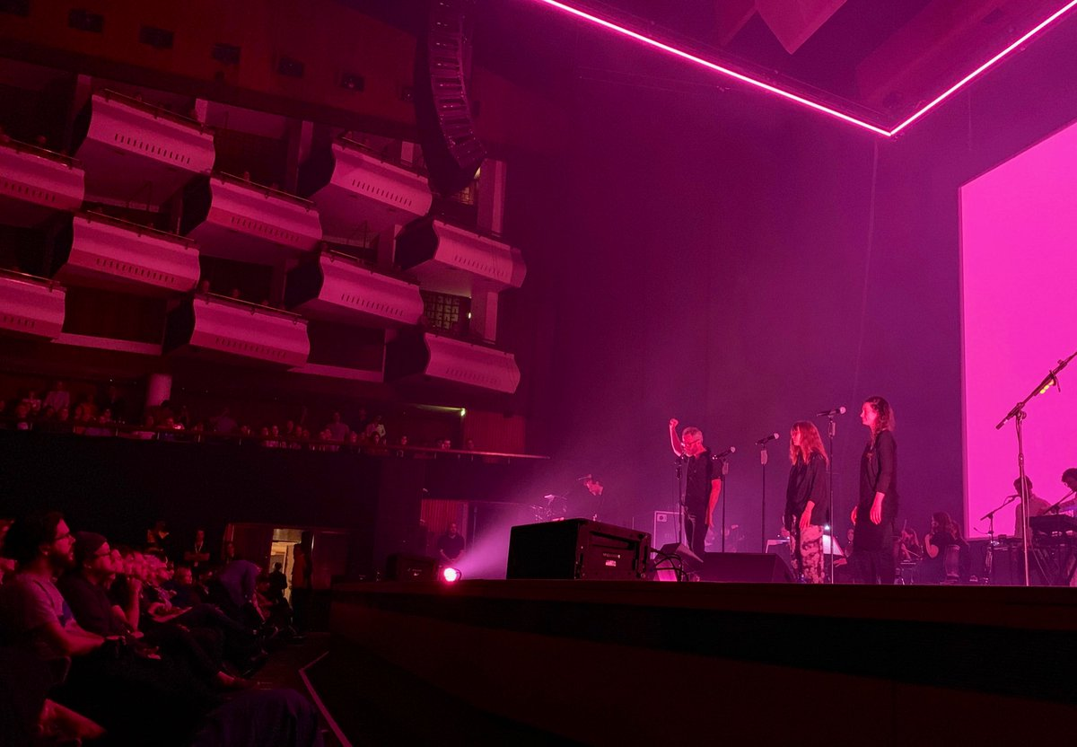 Watched @TheNational play their new album tonight at Royal Festival Hall (front row, lucky us). It's stunning. Top crowd too. Beaming.