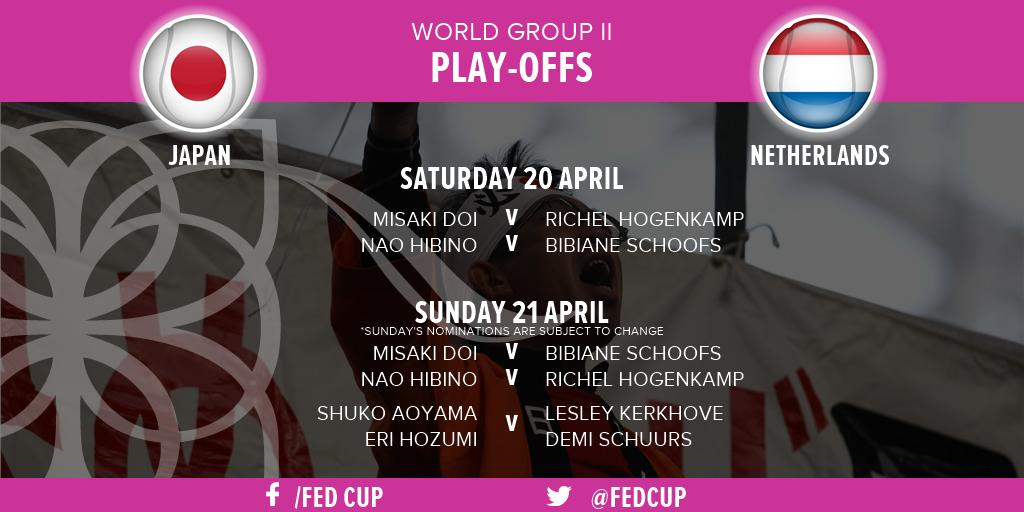 🇯🇵🆚🇳🇱  Japan's Misaki Doi will face Netherlands' Richel Hogenkamp in the opening rubber of the #FedCup World Group II play-off in Osaka