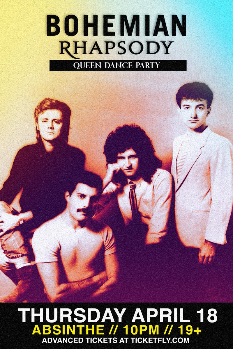 TONIGHT! BOHEMIAN RHAPSODY: QUEEN DANCE PARTY 2! Is this the real life? Is this just fantasy? Kick off Easter holiday weekend the right way. Tickets at the door if you wanna have a good time.  #hamont #queen #tribute