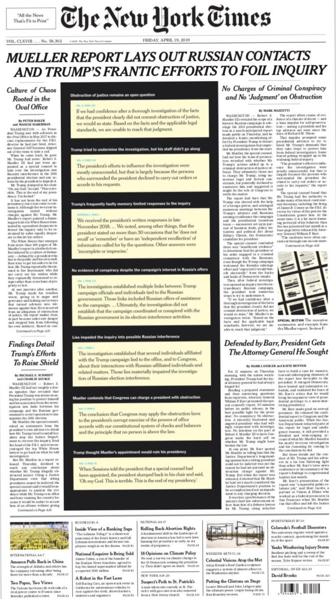 Tomorrow's @nytimes tonight: Mueller report lays out Russian contacts and Trump's frantic efforts to foil inquiry. #nytimes