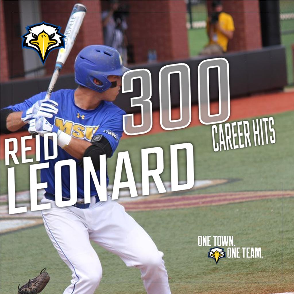 With 7⃣ hits in today's @MSUEaglesBsball doubleheader, senior shortstop Reid Leonard has become just the 5th player in @OVCSports baseball history to reach 300 career hits. #OneTownOneTeam #BlueCollar