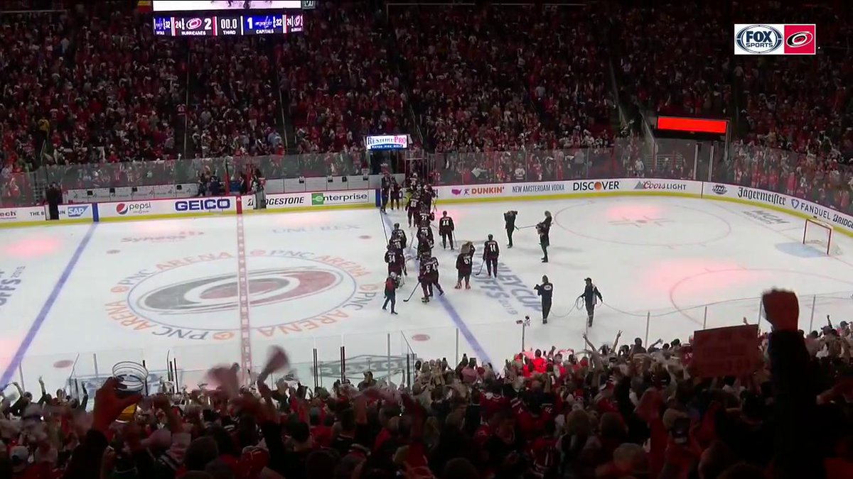 SERIES TIED.  The @NHLCanes sent a message with consecutive home playoff wins over the defending champs.