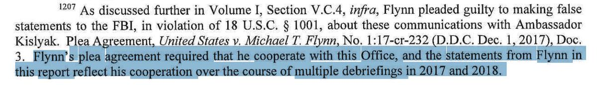 Something I&#39;m struggling with--They have Flynn as a cooperator, with a sweetheart deal, but he doesn&#39;t resolve issues involving him.  e.g. &quot;The investigation did not identify evidence&quot; whether Trump told Flynn to call Kislyak about sanctions.   Mike Flynn can&#39;t clear that up?? <br>http://pic.twitter.com/K7oeWRPelu