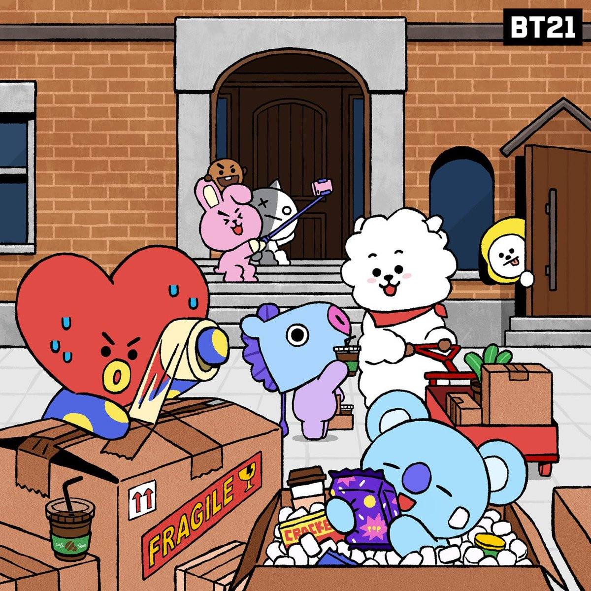 Move-in day! We'd better get this moving  #BASECAMP #BT21_UNIVERSE #BT21