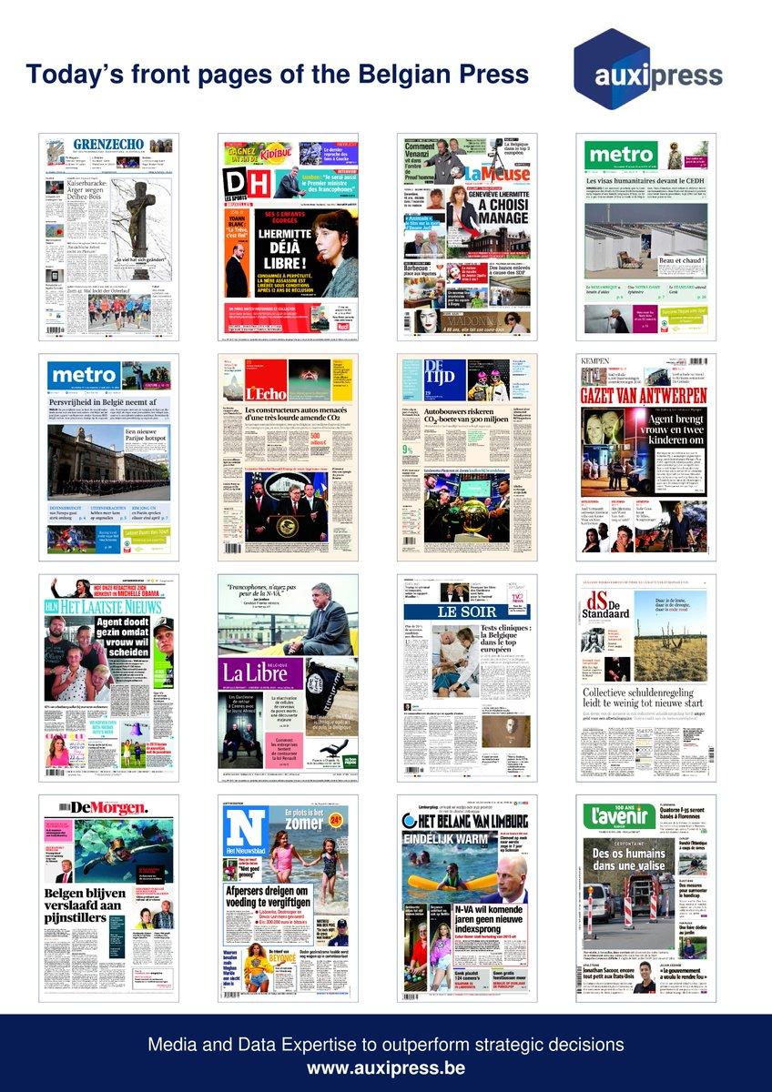 #Newsoftheday 📰💡📝- Discover today's front pages of the #BelgianPress ! #Handball #Standard #Genk #Kidibul #Anderlecht #JanJambon #YoannBlanc #GenevièveLhermitte #PreudHomme #Radars #Barbecue #CEDH #NotreDameDeParis #NotreDame #Brexit #CO2 #TrumpRussia #KanyeWest #Beyonce