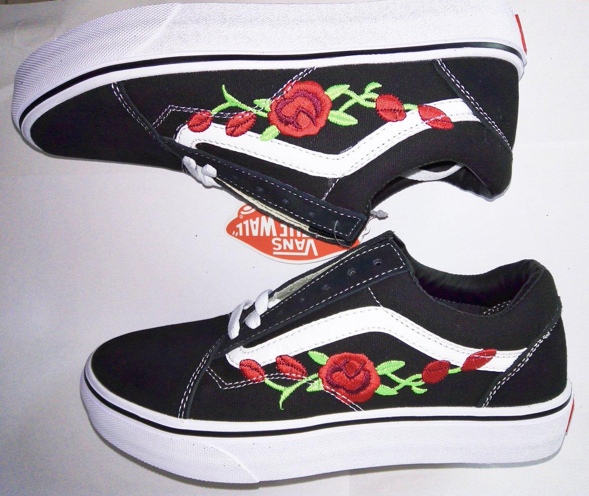 Rose-embroidered Vans Old Skool Skate
