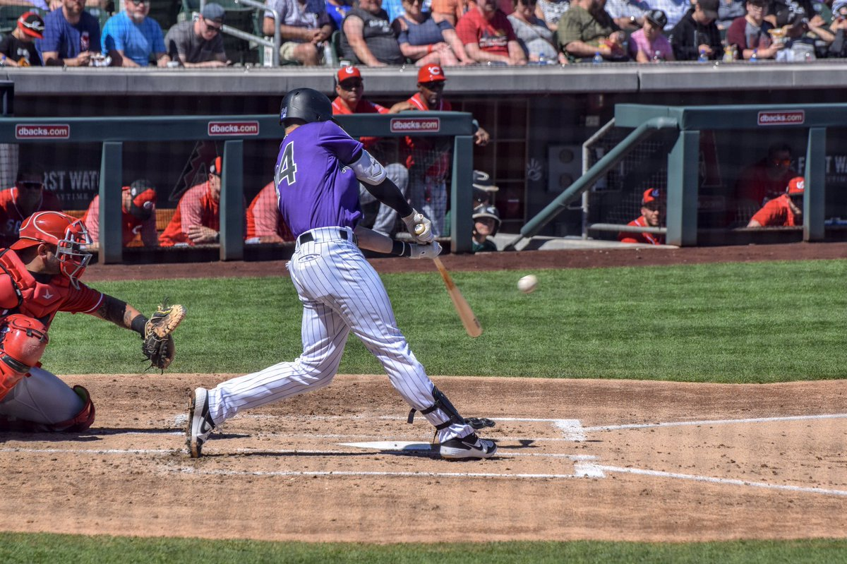This is a 📸 from #SpringTraining but #RyanMcMahon has a 5 RBI night w/ 2 homeruns for the @Rockies tonight. (The ball in this pic) was crushed 460+ feet in ST against the Reds  #Rockies