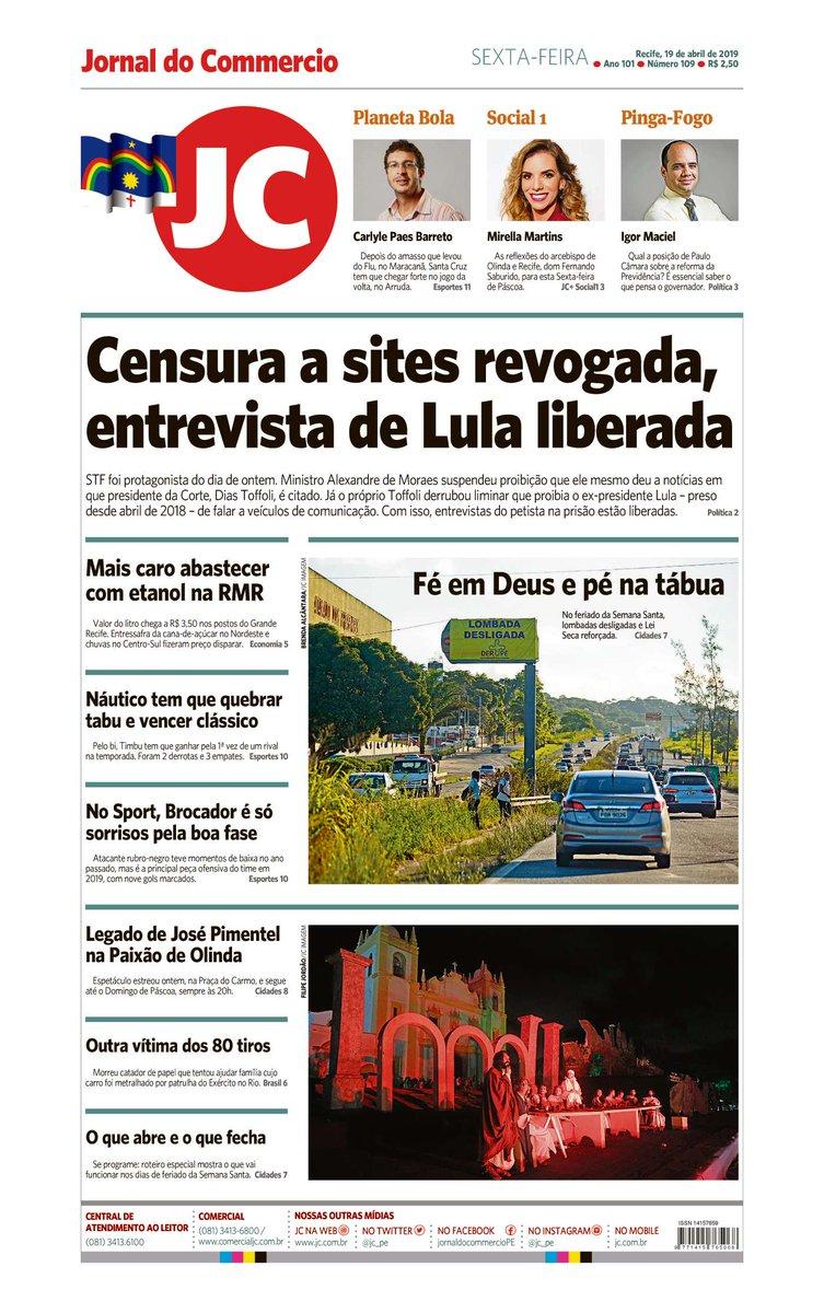 Capa do dia 19/04/2019