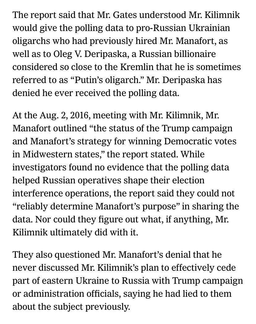 Information that was in dispute when we first wrote months back but which Mueller lays out here - report says Gates said Trump polling was intended for a group including Deripaska, via @SharonLNYT  https://www. nytimes.com/2019/04/18/us/ politics/russia-trump.html?smid=nytcore-ios-share &nbsp; …  <br>http://pic.twitter.com/BqoZY329GA
