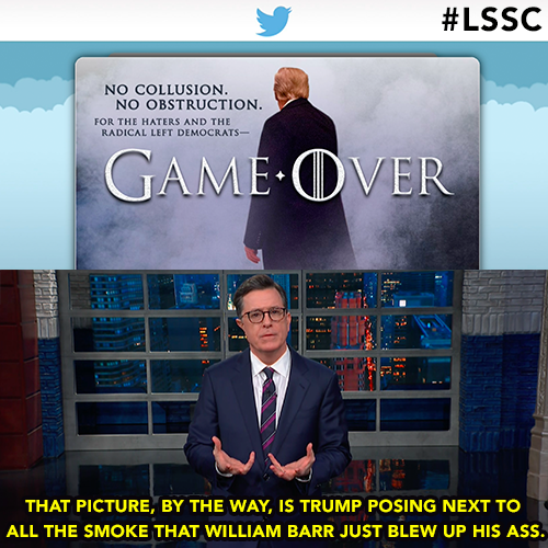 This picture? Oh it's just Trump posing next to all the smoke that William Barr just blew up his ass. #LSSC <br>http://pic.twitter.com/SDsNBABM80