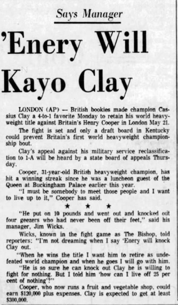 """Enery Will Kayo Clay"" April 19, 1966 #History #OTD #OnThisDay #Boxing #MuhammadAli  More at: http://www.newsobscure.com/"