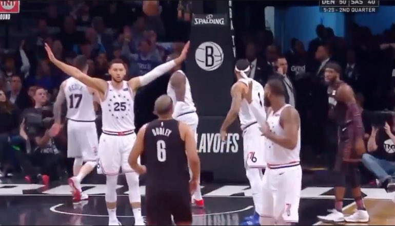 """April 17th: """"Once you get [Ben Simmons] in the halfcourt, he's average."""" -Nets forward Jared Dudley  April 18th: • Ben Simmons: 11/13 FG, 31 PTS, 9 AST • Jared Dudley: 0-2 FG, 0 PTS, 2 TO"""