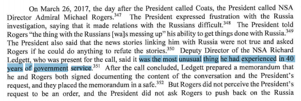 Mueller report confirms Trump called then-NSA chief Mike Rogers in March 2017 to ask if he could refute stories about Russia. Rick Ledgett, Rogers&#39; deputy who was present for the call, described it as &quot;the most unusual thing he had experienced in 40 years of government service.&quot; <br>http://pic.twitter.com/eQbURYR6z7
