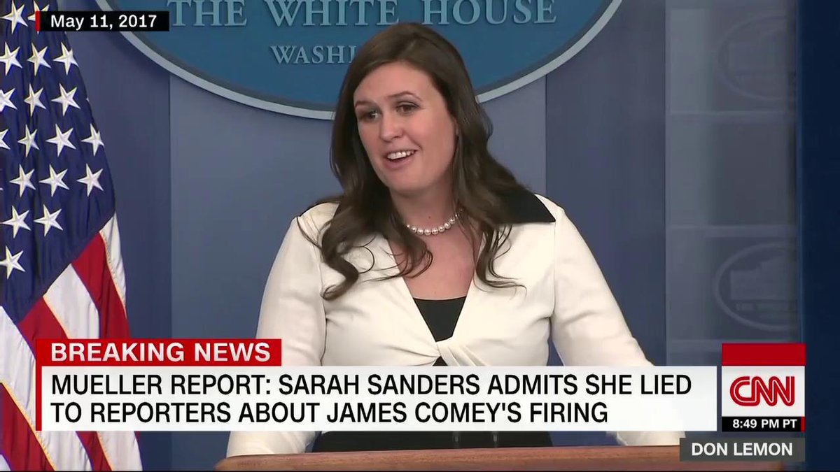White House Press Secretary Sarah Sanders admitted to Mueller her public comments about FBI werent true White House correspondent @AprilDRyan to CNNs @DonLemon: She needs to go! cnn.it/2Xnsmq7