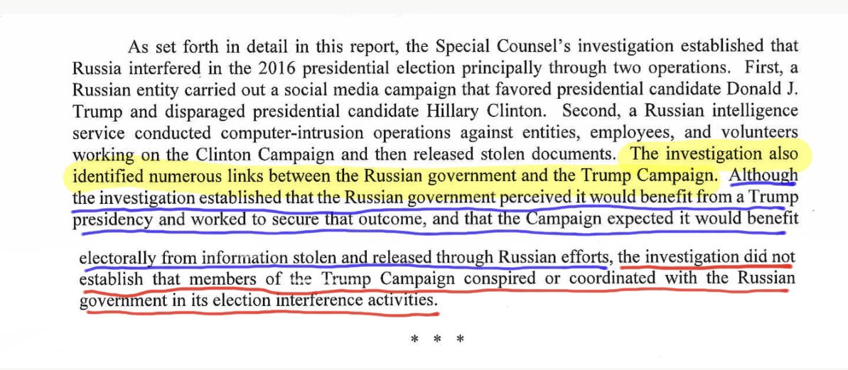 Red underline is what Barr quoted from Mueller report, blue underline is what he omitted. If my students submitted a paper containing this quote with the rest omitted, I'd fail them because the quote would be grossly misleading. Barr gets an F. He failed the American people. <br>http://pic.twitter.com/NTIAx4XPQy