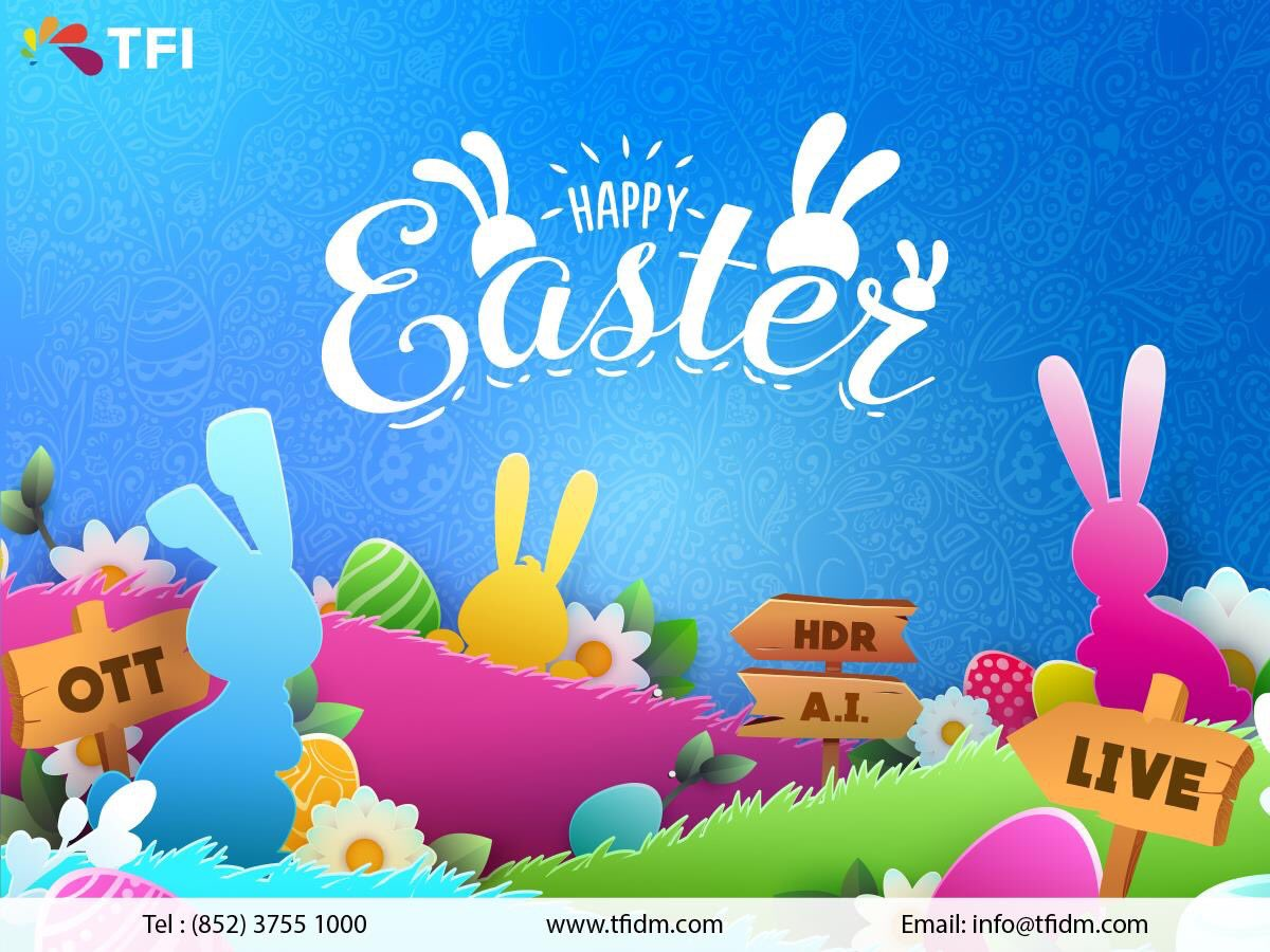 TFI wishes you a Happy Easter with joy and bliss! ☺️ ======================================== 天開: https://t.co/k2ua6gAQHD  #tfidm #live #AI #bigdata #blockchain #videotechnology #OTT #HDR #easter #直播 #開眼界 #天開電視 #大開眼界 #人工智能 #大數據 #區塊鏈 #視頻科技 #復活節快樂 https://t.co/wJHIJRJjMm