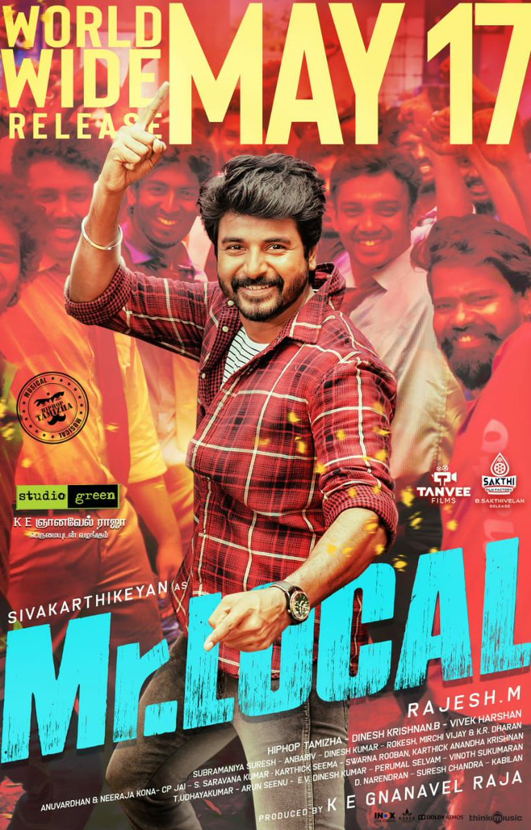 ‼️ High Alert‼️ #MrLocal @Siva_Kartikeyan💚 is On his way to entertain you from, May 17th 😉 A Power Packed Family Entertainer by @rajeshmdirector 💚  #Nayanthara @actorsathish  @iYogiBabu @hiphoptamizha @realradikaa @SF2_official @thinkmusicindia @DoneChannel1 #MrLocalOnMay17