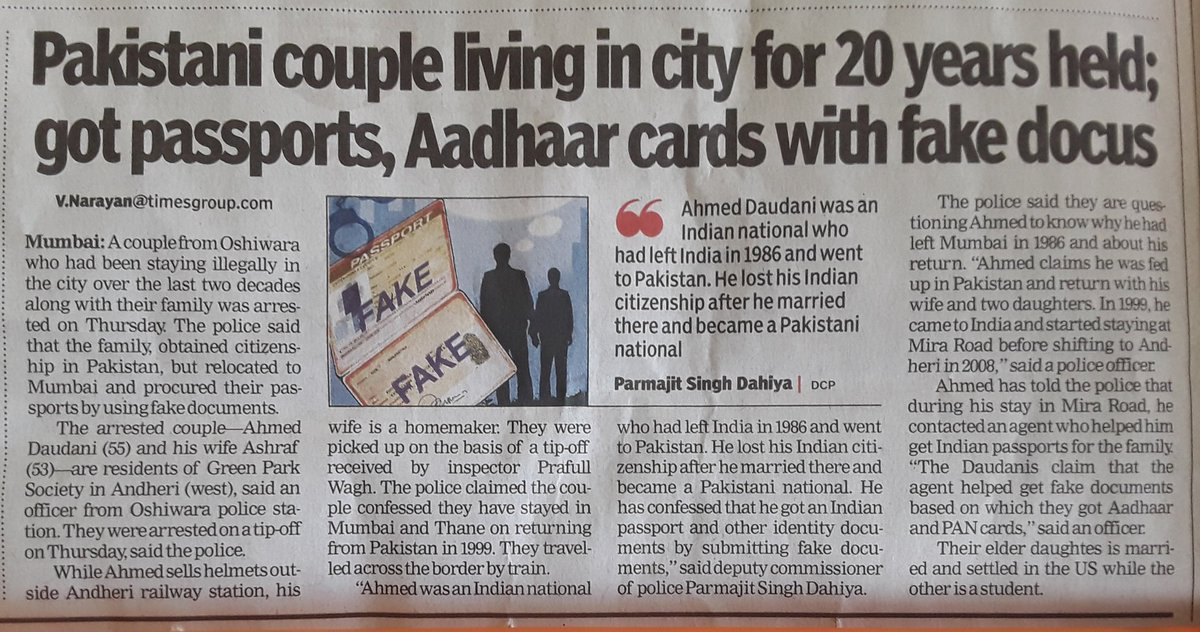 My 9-year-old daughter read this and asked me how it is possible? I have no answers as to how a couple, both Pakistani citizens, move to India, get PAN + Aadhaar + Indian passports based on fake documents, and live in Mumbai unnoticed for 20 years!  Today&#39;s TOI, Mumbai edn, p. 3. <br>http://pic.twitter.com/usEIBjeVtW