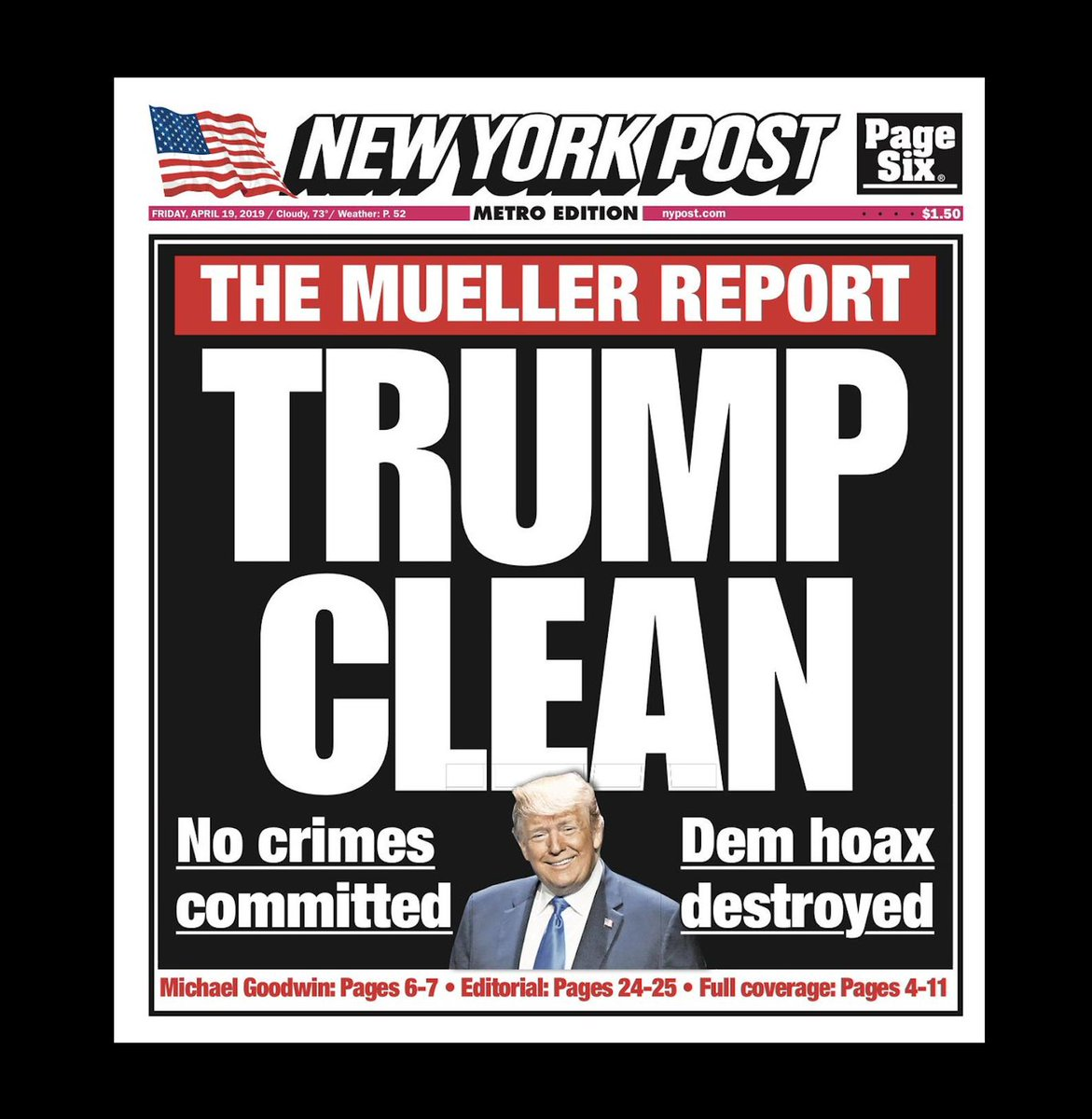Image result for trump clean new york post