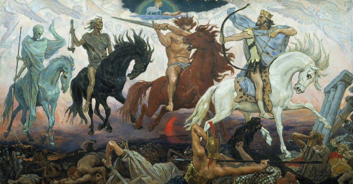 """The Four Horsemen of the Apocalypse (1887) "" Russian painter Viktor Vasnetsov (1848.5.15— 1926.7.23)"