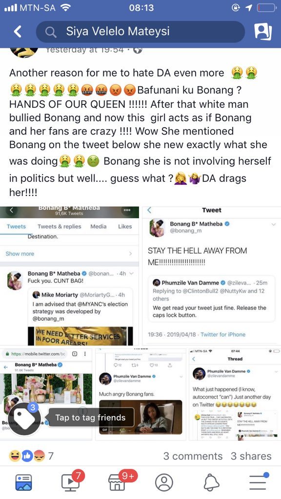 Let's show them/ her she ain't going to mess with Bonang or abuse any black woman especially when they not involving themselves in politics... that girl been going on last night she clearly thinks this is funny @The_BForce  I'm annoyed <br>http://pic.twitter.com/4WonsrXsXD