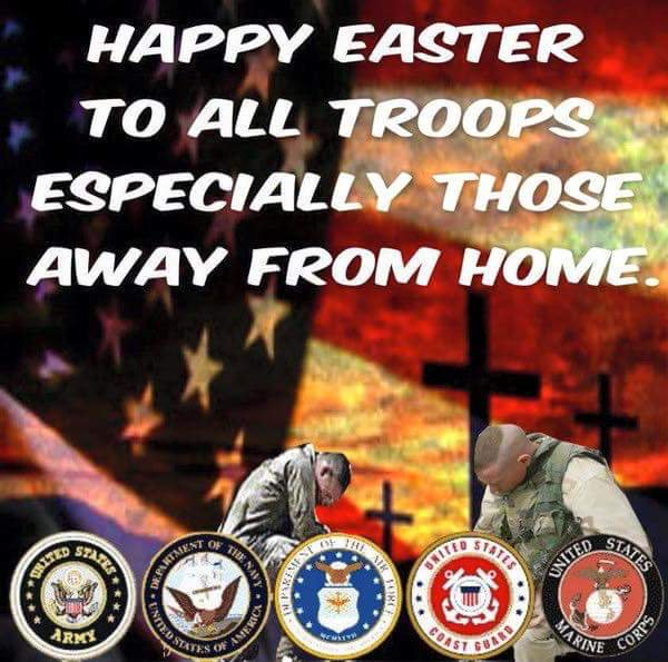 From this Military Family to yours #HappyEaster Heroes: Thank you for your sacrifices you do to protect our Freedom, Family & Country. Know that we do not take this for granted. We pray for you & your families. God bless you & keep you close to him. #REDFriday  #GodBlessOurTroops