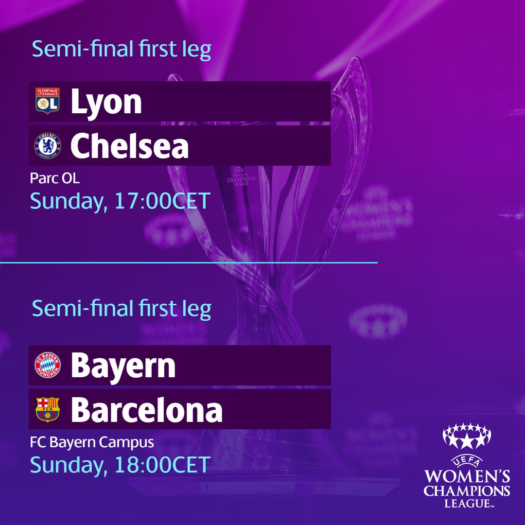 It's #UWCL semi-final weekend 1😍 http://bit.ly/2vcbma7  Sunday's first legs⚽ @OLfeminin v @ChelseaFCW  @FCBfrauen v @FCBfemeni   What are your predictions?🤔