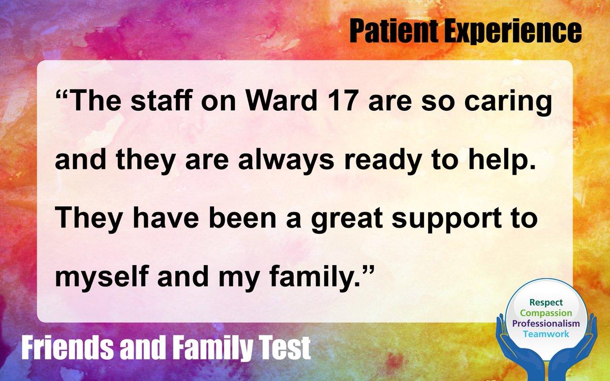 RT @WalsallHcareNHS: Fantastic feedback received for Ward 17 #FeedbackFriday  #PatExpWalsall  #WalsallandProud https://t.co/AZIiI3TScg