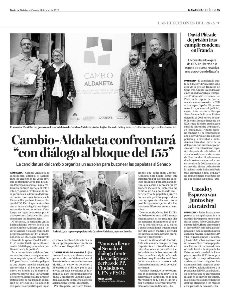 🙋♀️ Desde @cambio_aldaketa lo tenemos claro: 💪 Somos la única fuerza en Navarra que puede hacer frente al bloque del 155 y llevaremos al Senado el diálogo que no posibilitaron ni la derecha ni el PSOE. #LoQueNosUne #BatzenGaituena