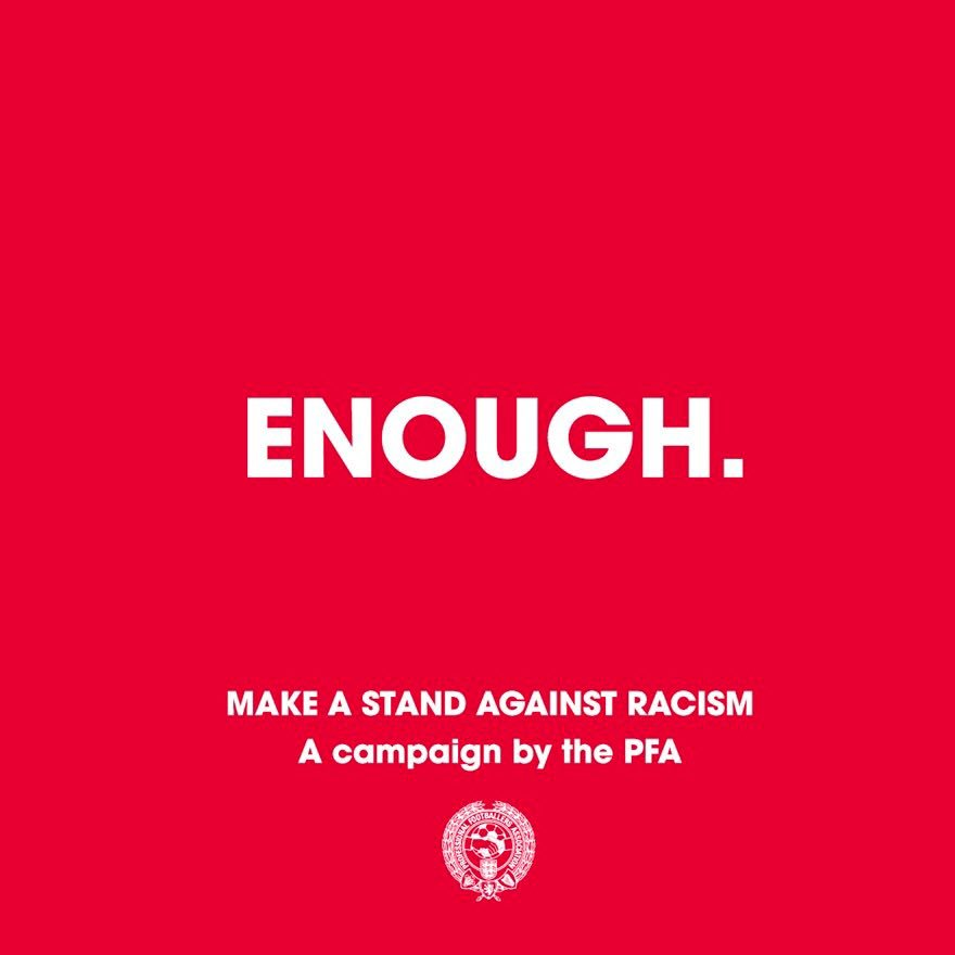 #Enough  We are making a stand against racist abuse.  We recognise that our platforms come with responsibility, and so we are using our voice to stand against racist abuse.  Together, we are calling on social media platforms and footballing bodies to do more!