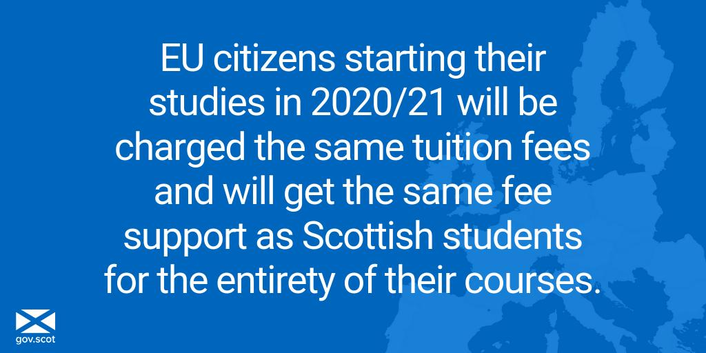 EU citizens starting their studies in 2020/21 will get the same support as Scottish students - even if current legal obligations to EU students cease to apply when the UK exits the EU.   Scotland is the first nation in the UK to offer this commitment: http://bit.ly/2DnOOrt