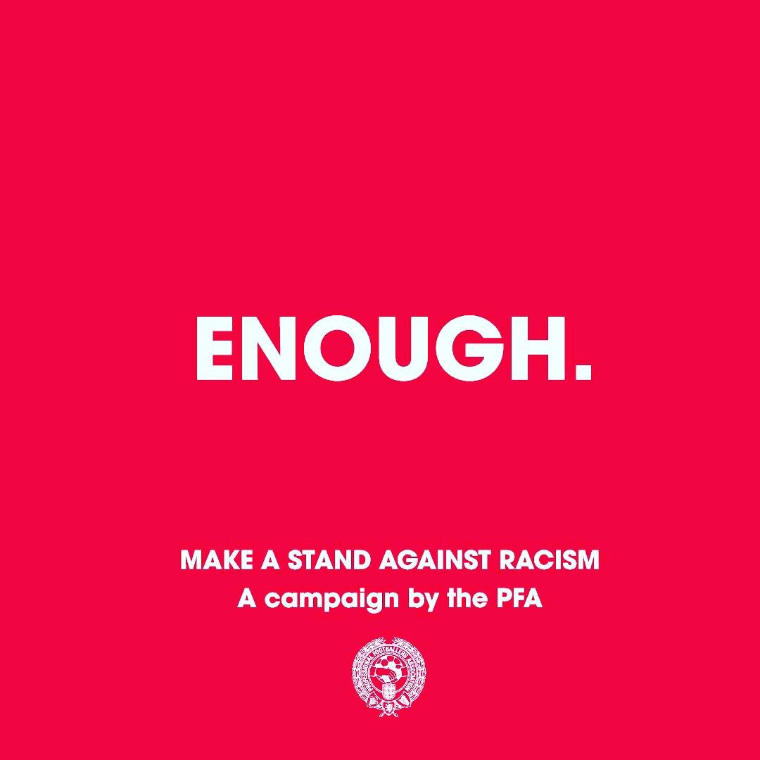 #Enough  👊🏽👊🏼👊🏿  We are making a stand against racist abuse.    We recognise that our platforms come with responsibility, and so we are using our voice to stand against racist abuse.    Together, we are calling on social media platforms and footballing bodies to do more!